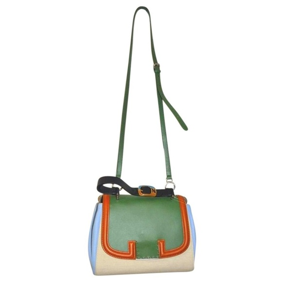 ad7a48a734d2 Fendi Silvana Green Blue Top Handle Shoulder Bag